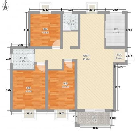 华美生态园3室1厅2卫1厨126.00㎡户型图