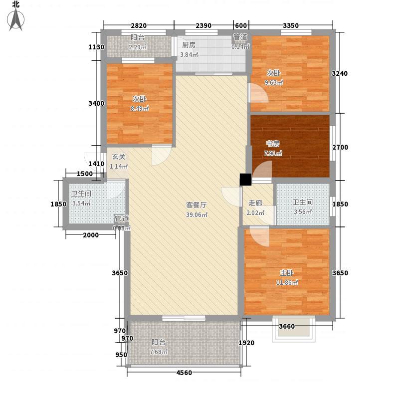 大家新城13.30㎡7#楼B7d户型4室2厅2卫1厨
