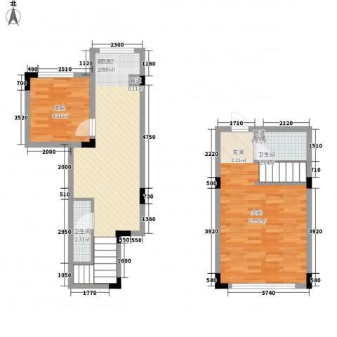亿洲百旺郦城2室1厅2卫0厨82.00㎡户型图