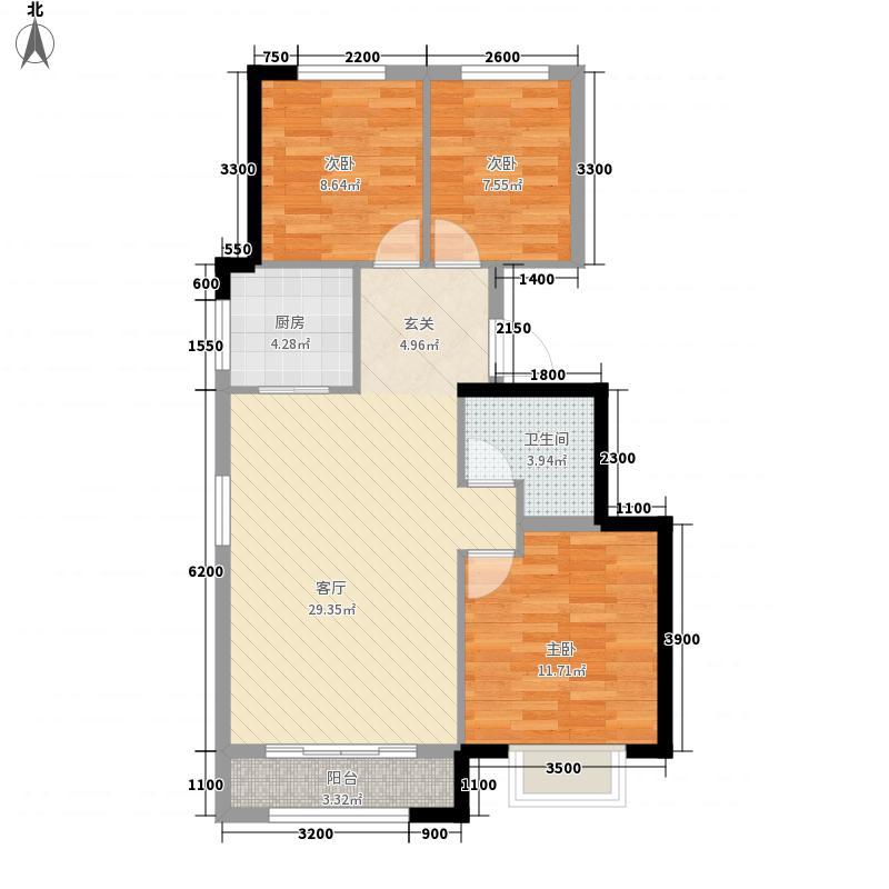 合景御华园3室1厅1卫1厨97.00㎡户型图
