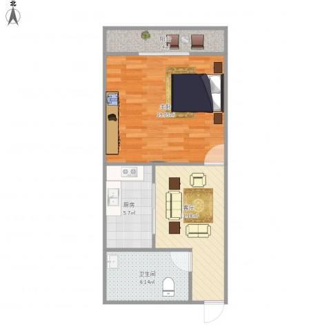 明桂苑1室1厅1卫1厨62.00㎡户型图