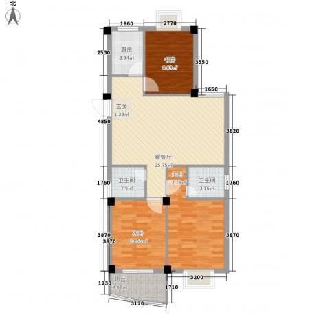 胜利新村3室1厅2卫1厨71.85㎡户型图