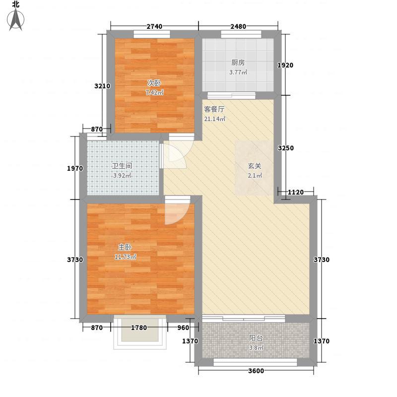 锦绣御园77.00㎡B户型2室2厅1卫1厨