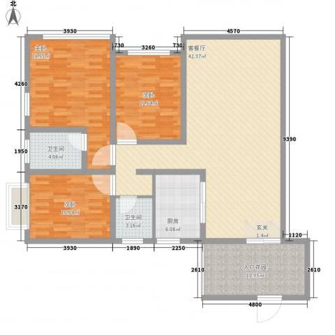 胜利新村3室1厅2卫1厨106.05㎡户型图