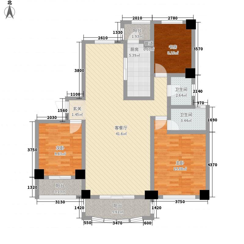 国宝华府143.00㎡一期B户型3室2厅2卫