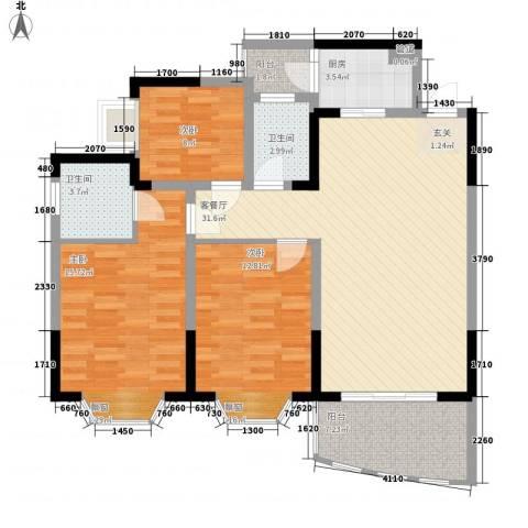 港务局宿舍3室1厅2卫1厨123.00㎡户型图