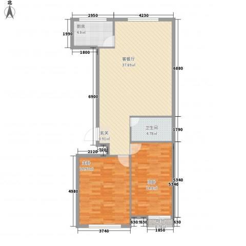尚层2室1厅1卫1厨79.92㎡户型图