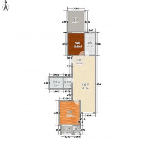 浦东经典家园2室2厅1卫1厨117.00㎡户型图