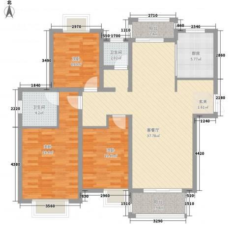 华美生态园3室1厅2卫1厨132.00㎡户型图
