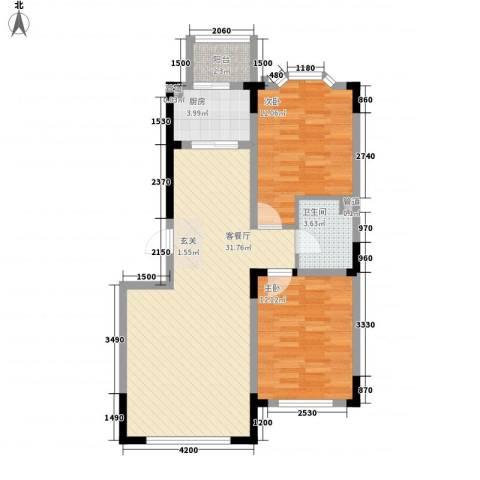 彩虹风景2室1厅1卫1厨87.00㎡户型图
