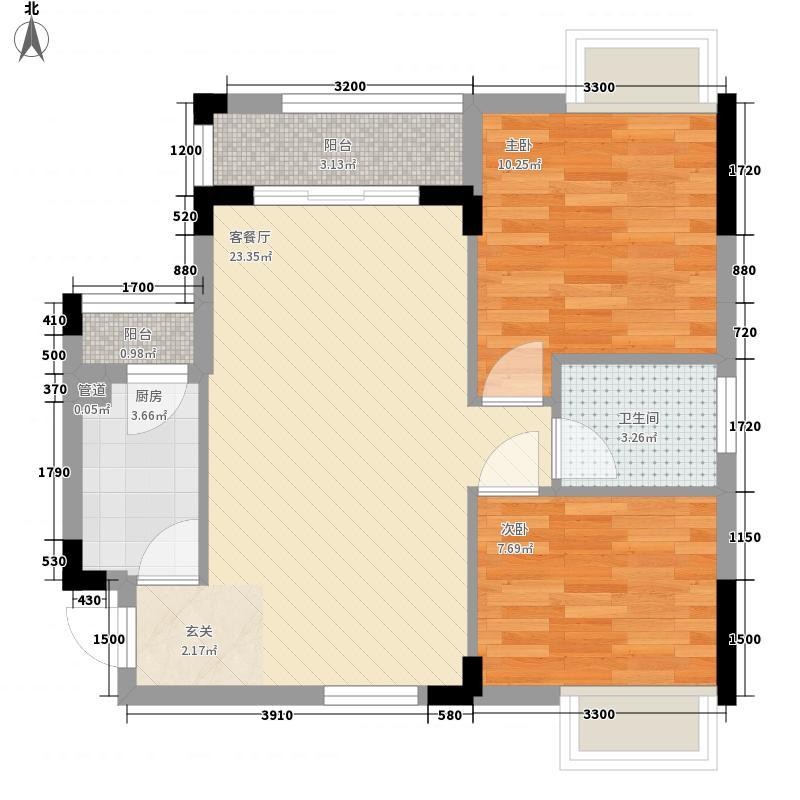 月半弯二期曦悦71.54㎡一、二栋1单元01户型2室2厅1卫