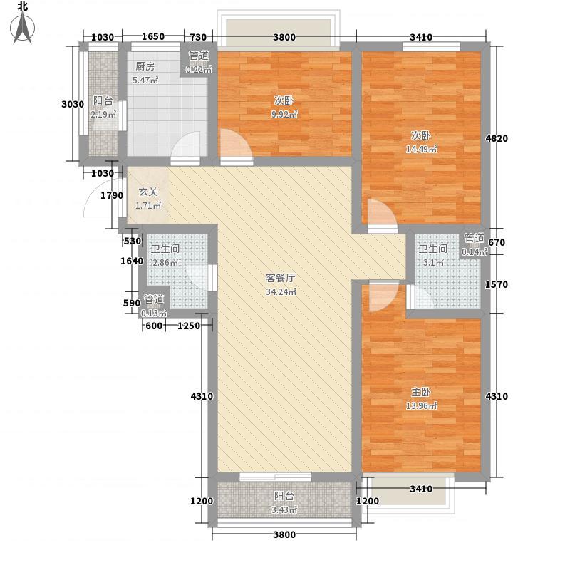 亿丰时代广场126.00㎡户型3室2厅2卫