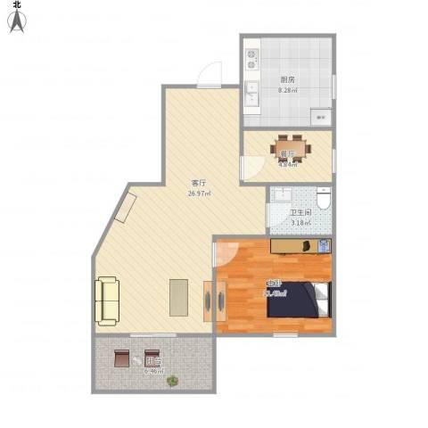 绿庭尚城-121-661室2厅1卫1厨82.00㎡户型图