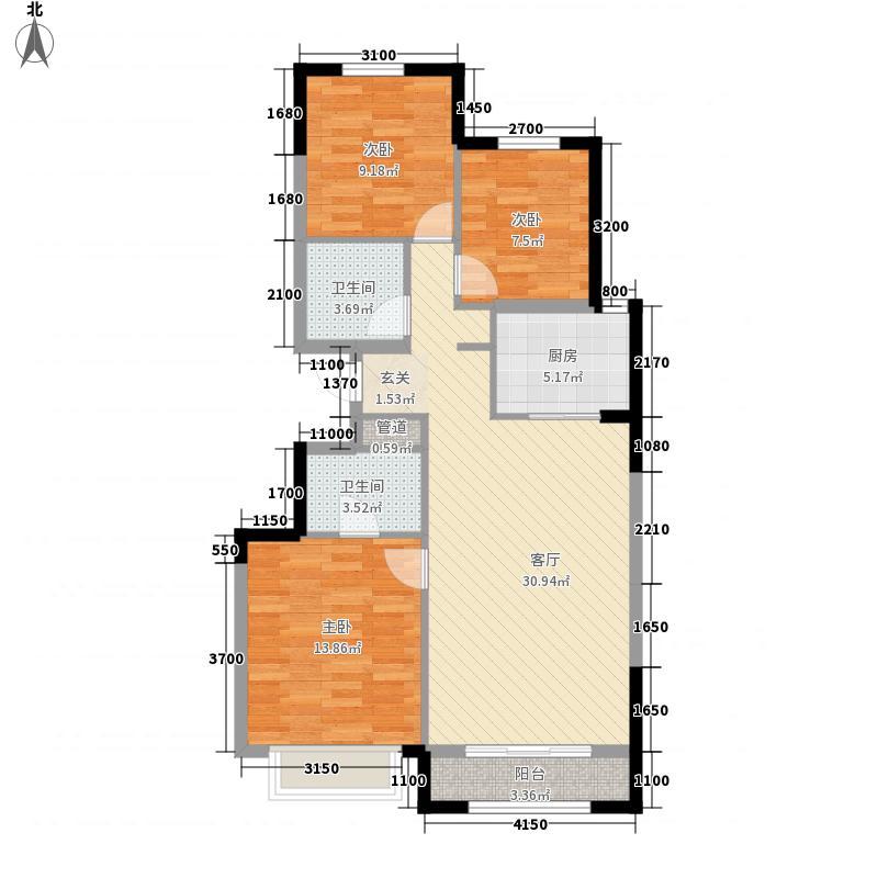 合景御华园3室1厅2卫1厨110.00㎡户型图