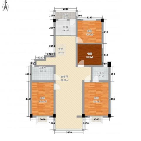 华城新村4室1厅2卫1厨97.58㎡户型图