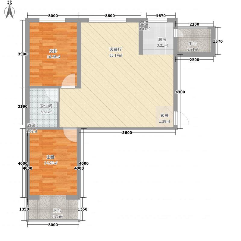 公元仰山2室1厅1卫0厨87.00㎡户型图