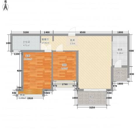 郑西鑫苑名家2室1厅1卫1厨95.00㎡户型图