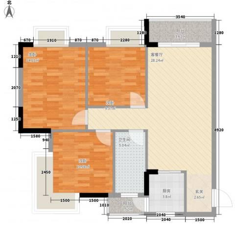 塘盛花园3室1厅1卫1厨142.00㎡户型图