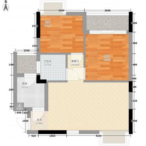 月半弯二期曦悦2室1厅1卫1厨63.00㎡户型图