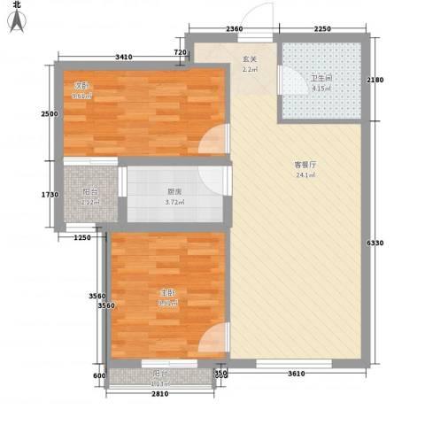 尚层2室1厅1卫1厨79.00㎡户型图