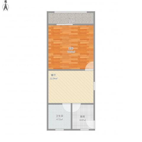 管弄小区1室1厅1卫1厨58.00㎡户型图