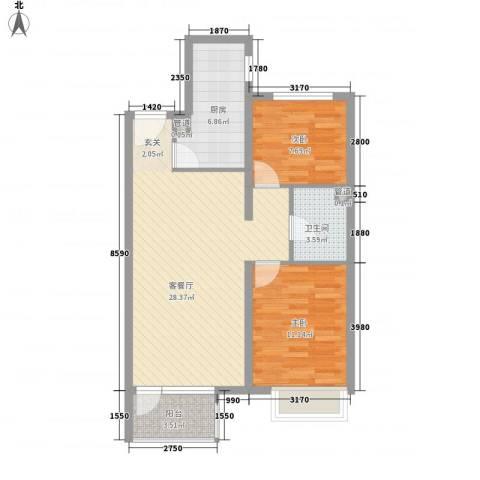 永定河孔雀城莱茵河谷2室1厅1卫1厨82.00㎡户型图