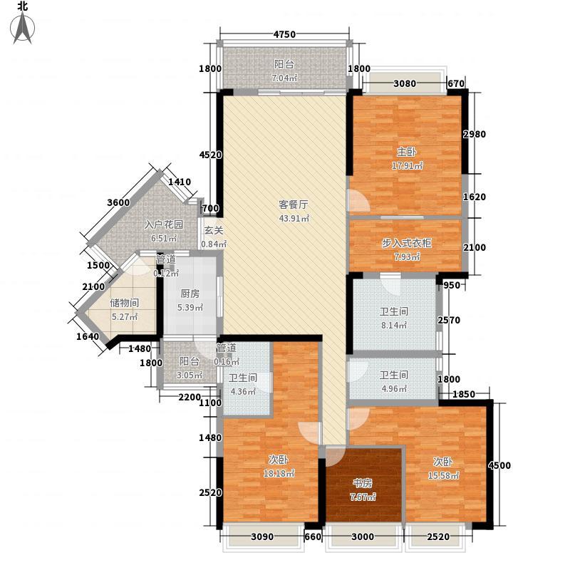 嘉裕公馆18.12㎡H栋02单位户型4室2厅3卫1厨