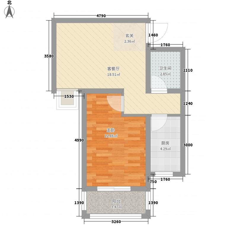 永泽龙湖上公馆61.38㎡1期B2户型1室1厅1卫1厨