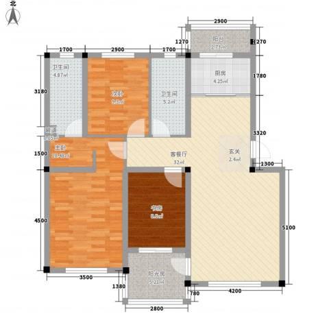 彩虹风景3室1厅2卫1厨115.00㎡户型图