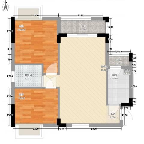 月半弯二期曦悦2室1厅1卫1厨72.00㎡户型图