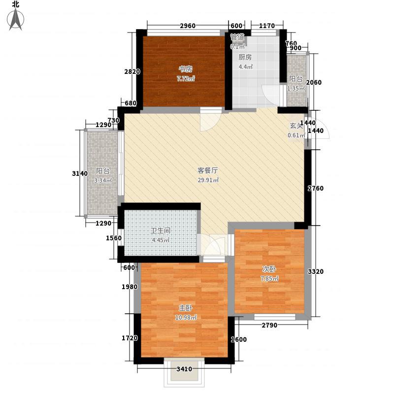华丽家族太湖汇景3室1厅1卫0厨95.00㎡户型图