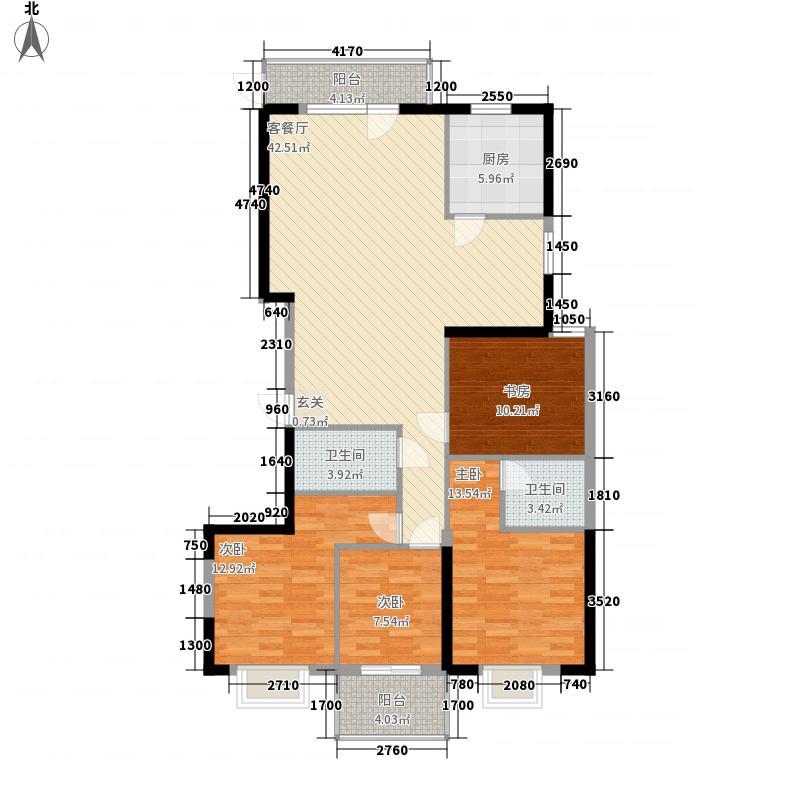 菁华领第13.81㎡2#户型4室2厅2卫1厨