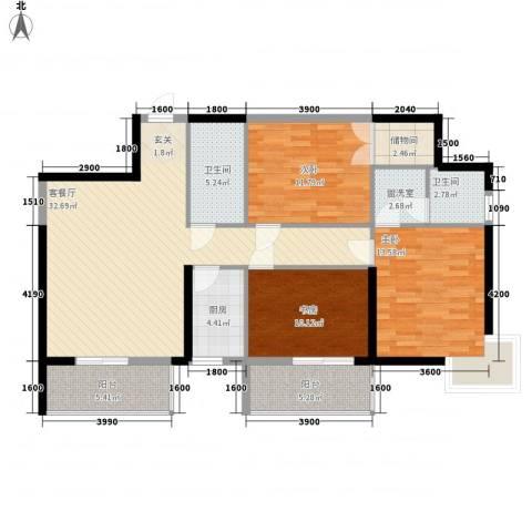 菁华领第3室1厅2卫1厨132.00㎡户型图