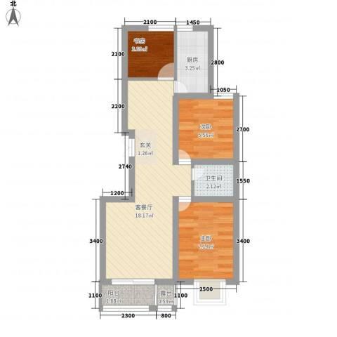 浦东经典家园3室1厅1卫1厨63.00㎡户型图