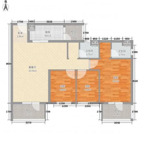 万科城花�苑3室1厅2卫1厨125.00㎡户型图