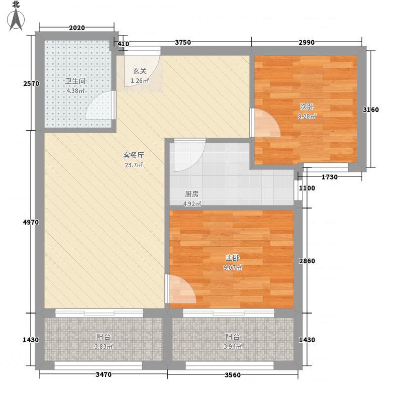 富润国际公寓83.38㎡B户型2室2厅1卫1厨