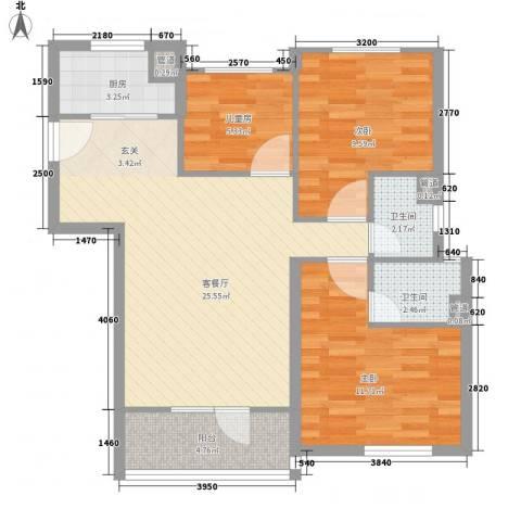 万科城花�苑3室1厅2卫1厨93.00㎡户型图