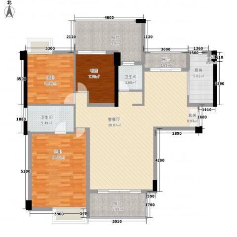 特房五缘尊府3室1厅2卫1厨138.00㎡户型图