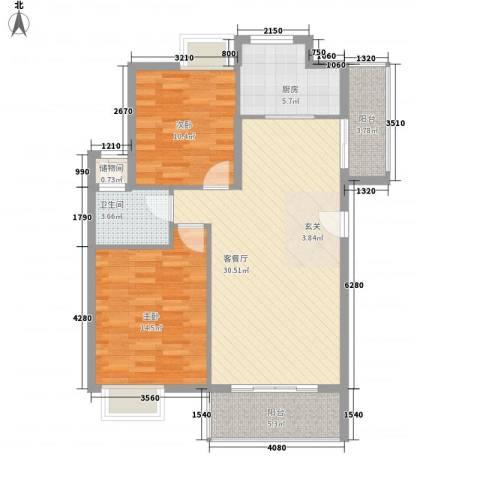 ��书院2室1厅1卫1厨87.00㎡户型图