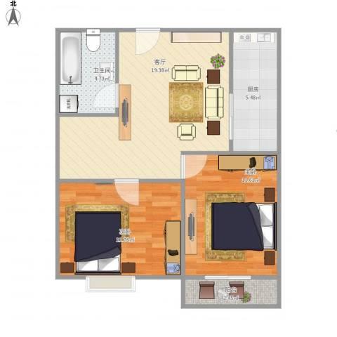 莘松五村-211-602室1厅1卫1厨75.00㎡户型图