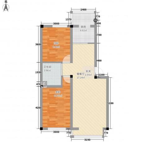 彩虹风景2室1厅1卫1厨73.00㎡户型图