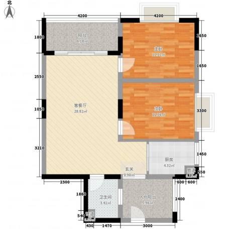 鸿福新村2室1厅1卫1厨105.00㎡户型图
