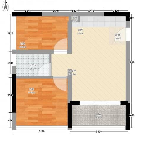 天烽新地2室1厅1卫0厨55.00㎡户型图