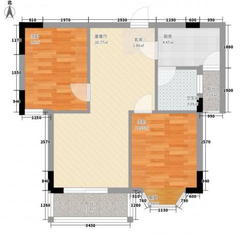 翠月嘉苑2室1厅1卫1厨75.00㎡户型图