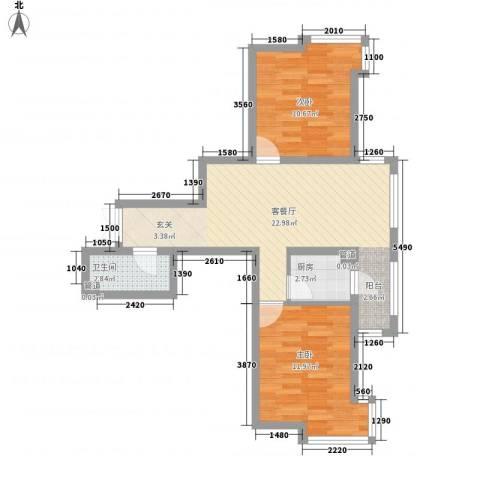 华风海城湾2室1厅1卫1厨75.00㎡户型图