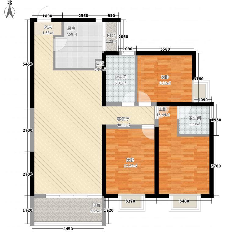 海右重华142.00㎡户型3室2厅2卫