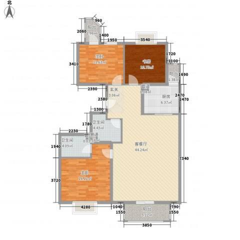 中环国际3室1厅2卫1厨149.00㎡户型图