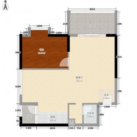 南峰国际二期1室1厅1卫0厨94.00㎡户型图
