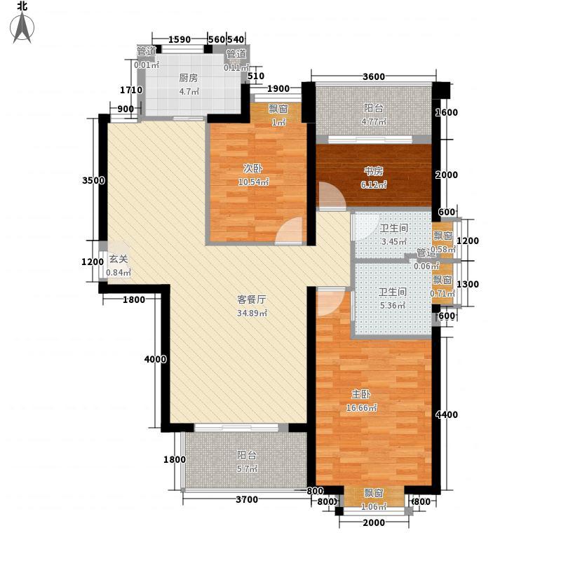 ��温莎公馆124.53㎡2#B梯03单元户型3室2厅2卫1厨