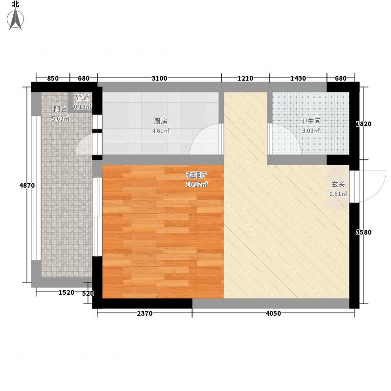 凤凰花园A区一居室11户型1室1厅1卫1厨